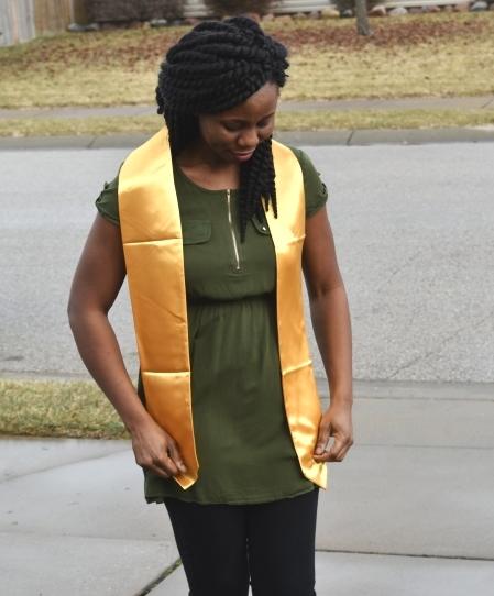 Satin Gold Graduation Scarf