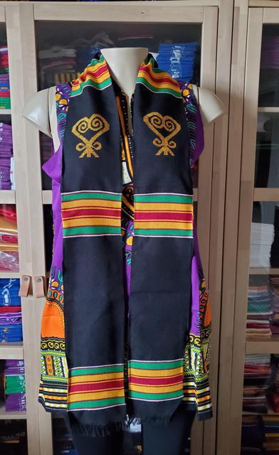 Black Kente Sankofa Heart Symbol-BLANK